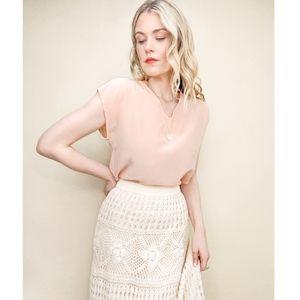 80s Light as Air Pink Silk Summer Short Sleeve Top